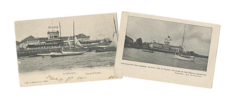 Postkaarten met foto van 'Le Belvedère' op de Antwerpse linkeroever
